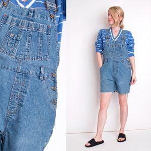 Vintage 90s denim cutoff shortalls overalls